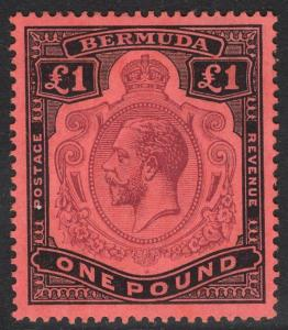 BERMUDA SG55 1918 £1 PURPLE & BLACK/RED MTD MINT