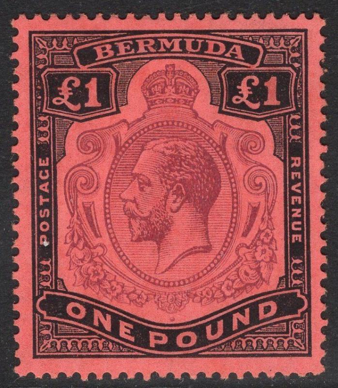 BERMUDA SG55 1918 £1 PURPLE & BLACK/RED MTD MINT