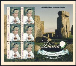 Uganda 1998 Sc 1578 Diana Princess of Wales Stamp MS MNH