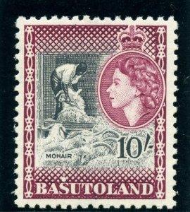 Basutoland 1954 QEII 10s black & maroon superb MNH SG 53. Sc 56.