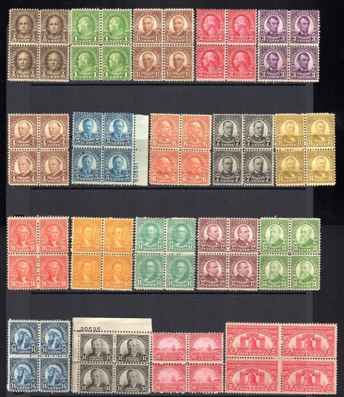 1920'-30's Mint Hinged Collection 43 Different Blocks & One Coil Pair