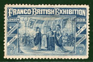 FRANCO-BRITISH EXHIBITION STAMP/LABEL GB London 1908 Mint MNG GR2WHITE16