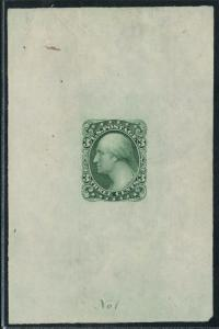 #184-E5b DIE ESSAY ON PROOF PAPER THREE CENTS BANK NOTE ESSAY BT9675