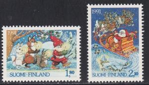 Finland # 874-875, Christmas - Santa in Sleigh, NH, 1/2 Cat.