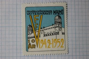 Malmo Sweden stamp club VFF FFV 1952 Philatelic expo Bourse Poster ad Label
