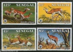 Senegal 1986 WWF Dama Gazelle Antelope Deer Sc 677-80 Wildlife Animal Fauna MNH