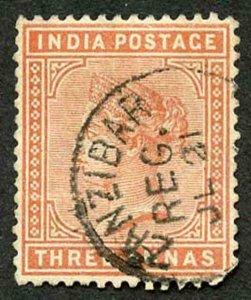 Zanzibar SGZ86 1882-90 India 3a Orange 21 July with CDS (type Z6) Used