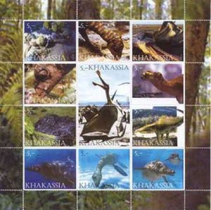 Prehistoric Animals on Stamps - 12 Stamp  Sheet  - 11D-008
