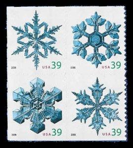 PCBstamps     US #4105/4108a Block $1.56(4x39c)Snowflakes. 2006, MNH, (6)