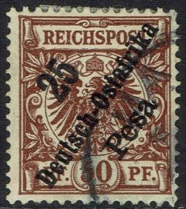 GERMAN EAST AFRICA 1896 EAGLE DIAGONAL OVERPRINTED 50PF USED