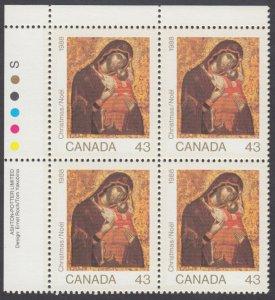 Canada - #1223 Christmas Plate Block - MNH