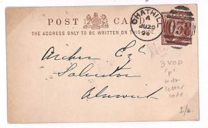 C289 1894 GB *CHATHILL* Numerals Northumberland Superb 3VOD {samwells-covers}PTS