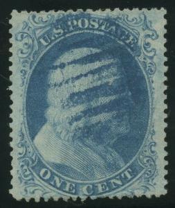 #20 1c 1857 VF-XF USED WITH BLUE GRID CANCEL CV $450 BU7276