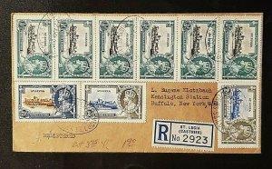 1936 St Lucia Buffalo NY Registered Jubilee Set Multi Franking Registered Cover