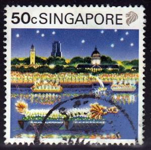 Singapore #574 Festival, 1990. Used, PM, Heavy Crease.