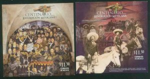 MEXICO 2717-2718 CENTENARY OF THE MEXICAN REVOLUTION 2 SOUV SHEETS MINT, NH. VF.
