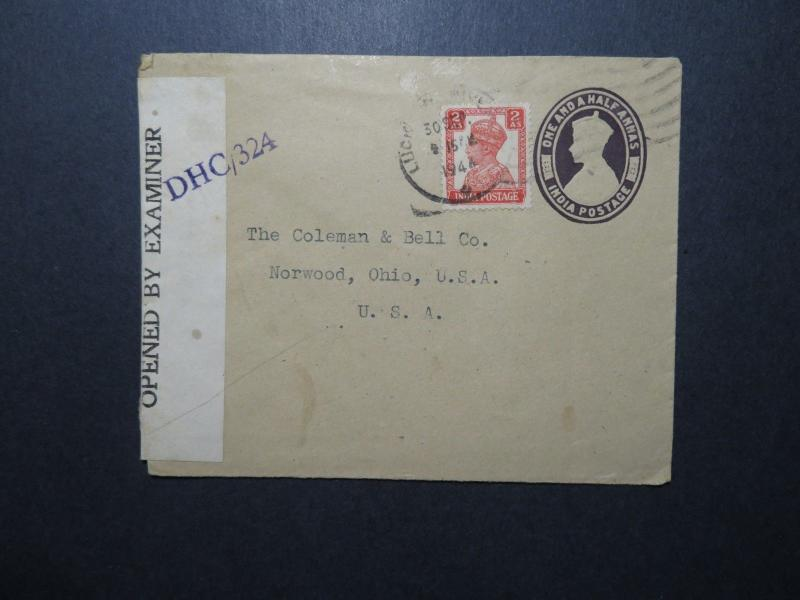 India 1944 Uprated Censored Cover to USA (I) - Z11682