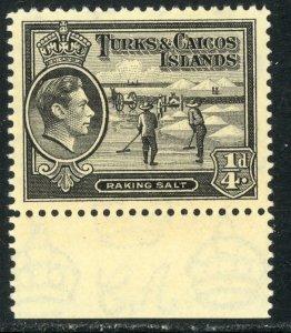 TURKS AND CAICOS ISLANDS 1938-45 KGVI 1/4d Raking Salt Pictorial Sc 78 MLH