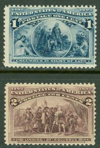 EDW1949SELL : USA 1893 Scott #230-31 Mint Never Hinged. Catalog $70.00.