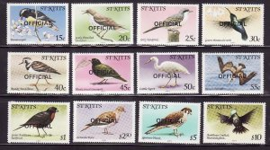 St. Kitts-Sc#O11-O22- id7-unused NH Official set-Birds-1981-