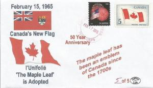 VERY LAST 15 Feb 1965 Canada New l'Unifolié Maple Leaf Flag #5of5 Cachet Cover
