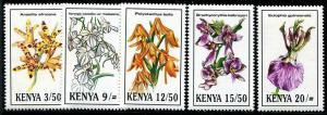 HERRICKSTAMP KENYA Sc.# 621-25 Orchids Stamps Mint NH