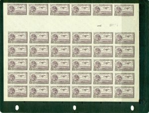 Mexico #C24 partial sheet of 36 with gutter VFMNH
