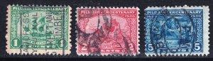 US STAMP #548-50 – Complete Set, 1920 Pilgrim Tercentenary Series USED STAMPS