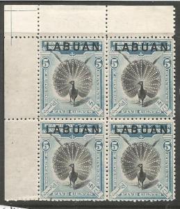 Labuan SG 114 UL Gutter Block of 4 MNH (1cwt)
