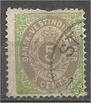 DANISH WEST INDIES, 1876, used 5o, Arms. Scott 8