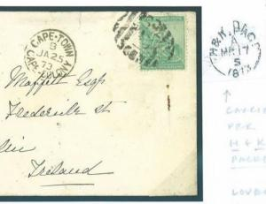 M51a 1873 S.Africa COGH 1s Rate Cover IRELAND per HOLYHEAD & KINGSTOWN PACKET