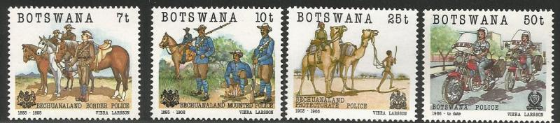BOTSWANA 368-371, MNH, C/SET OF 4 STAMPS, POLICE CENTENARY, 1985