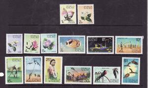 Nauru-Sc#91-104-Unused NH set-Flowers-Maps-Birds-1973-