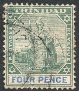 TRINIDAD-1901-06 4d Green & Blue/Buff chalk-surfaced Sg 130a GOOD USED V46183