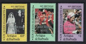 Barbuda 60th Birthday of Queen Elizabeth II 2nd issue 3v SG#872-874