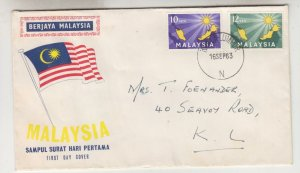 MALAYSIA, 1963 Inauguration 10c. & 20c., Illustrated First Day cover with insert