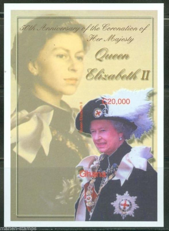 GHANA IMPERF 50th CORONATION OF QUEEN ELIZABETH II  S/S SC# 2351 MINT NH