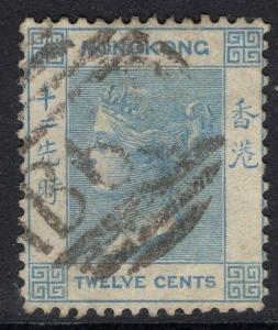 HONG KONG SG12a 1865 12c PALE BLUE USED