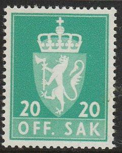 Stamp Norway Official Sc O68 1955 Coat of Arms Emblem Lion Dienst MNH