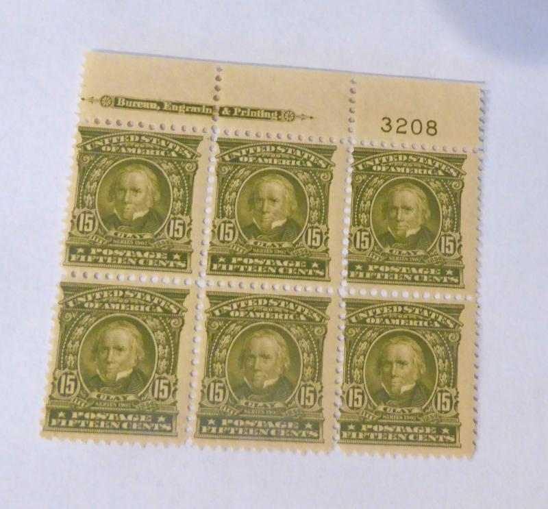 #310 15 cent Henry Clay plate block