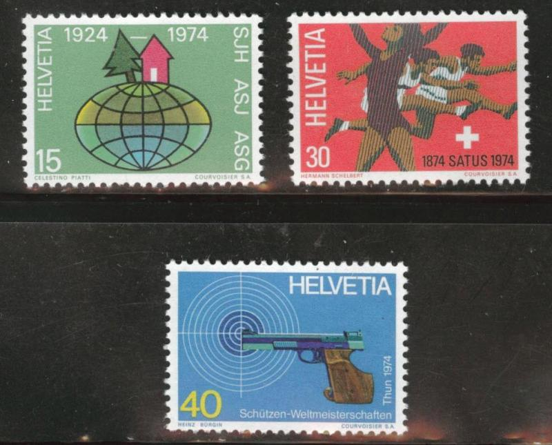 Switzerland Scott 586-588 MNH** from 1974 set CV$2