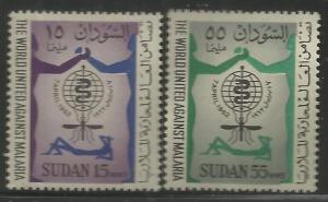 SUDAN 142-143 MNH, PAIR OF STAMPS, MALARIA ERADICATION EMBLEM