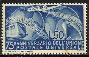 Italy UPU 1949 Scott# 514 MNH (gum stain)