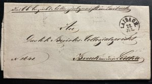 1851 Laibach Austria Stampless Letter Cover