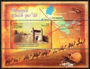 Uzbekistan 2016 Great Silk Way Camels Architecture S/S MNH