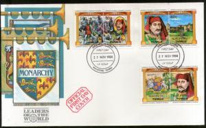 Tuvalu NUKUFETAU 1984 British Monarchs King Queen Coat of Arms Sc 17-9 FDC #F166