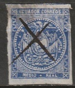 Ecuador 1865 Sc 2 used thins/trimmed