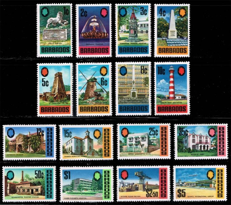 Barbados #328-343 Tourism Set of 16; most MNH