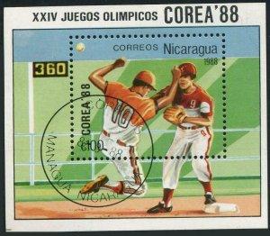 Nicaragua 1692,CTO.Michel 2860 Bl.177. Olympics Seoul-1988.Baseball.