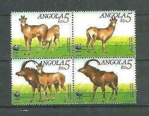 Angola 1990 WWF Fauna 4v Scott 781-84 MNH